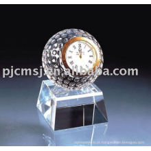 2015 belo relógio de mesa de cristal relógio de casamento favor cristal relógio de bola de golfe de cristal