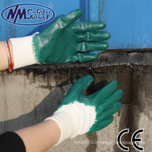 NMSAFETY interlock doublure gants de travail résistant à l'huile nbr vert nitrile 3/4 enduit gants de travail légers