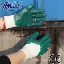 NMSAFETY forro de bloqueio luvas de trabalho resistente a óleo nbr verde nitrilo 3/4 revestido luvas de trabalho leve