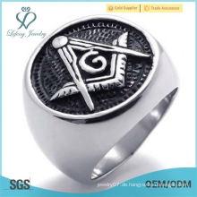 Großhandel Edelstahl Silber Runde Masonic Herren Ring