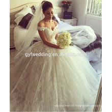 Sweetheart Bridal Dress Design Off the Shoulder Tulle Puffy Dress Princess Ball Gown Lace White Wedding Dresses 2015 A125