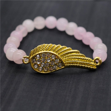 Rose Quartz 8MM Round Beads Stretch Gemstone Bracelet with Diamante Wing Piece