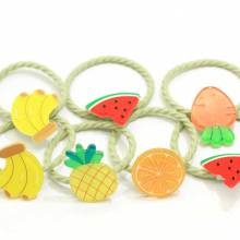 Assorted Cartoon Girls Hair Ties Fruit And Vegetable Design Little Girls' Small Elastic Ropes For Pigtails Ponytail Holders