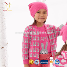 Новый дизайн Кролик шаблон девушки кардиган свитер кардиганы девушки