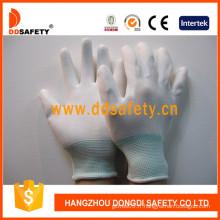 Gant en PU blanc blanc en nylon de calibre 13, poignet mixte (DPU109)