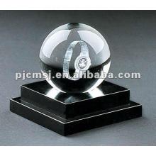 2015 cristal bureau papeterie.crystal ball avec 3D laser montre