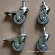 "High Quality 3""/4""/5"" PU Stem Wheels for Wire Shelf Rack"
