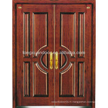 Portes isolantes en acier de sécurité à double feuille, portes résidentielles en acier blindé en bois Choix de qualité
