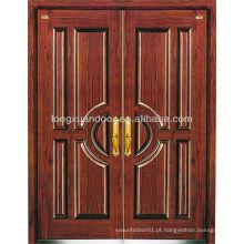 Portas blindadas de aço inoxidável de duas folhas, Portas blindadas de madeira de aço residencial Escolha de qualidade