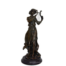 Musik Dekor Messing Statue Fairy Player Carving Bronze Skulptur Tpy-960