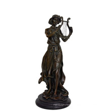 Music Decor Brass Statue Fairy Player Carving Bronze Sculpture Tpy-960