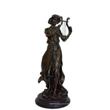 Музыкальный Декор Латунь Статуя Фея Плеер Бронзовая Скульптура Резьба Т-960