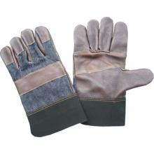 Guante de trabajo de cuero de color oscuro con espalda de denim completa Palm Denim