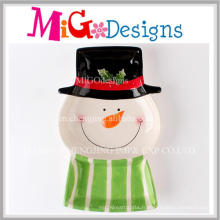 Plat de forme de bonhomme en céramique de nouveau style en tant que cadeaux uniques de Noël