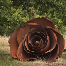 famous metal art theme park flora large roses garden corten steel sculpture