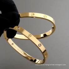 Jewelry 316 Stainless Steel Love Screwdriver Inlaid CZ Zircon Stone Bangle Bracelet Love Cross Design Bangles Bracelet