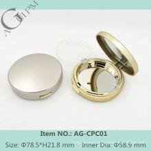 Simples redondo compacto pó caso/compacto pó recipiente com espelho AG-CPC01, embalagens de cosméticos do AGPM, cores/logotipo personalizado