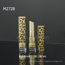 Sexy Leopard Empty Round Wholesale Lipstick Packaging With Oblique Mouth