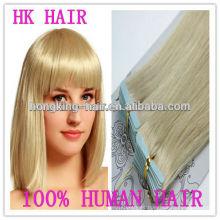 ombre remy barato 100% humano doble cara cinta azul extensiones de cabello cinta brasileña 40 unids