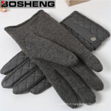 Gants chauds en cuir PU PU, gants mâles en cachemire tricotés en velours