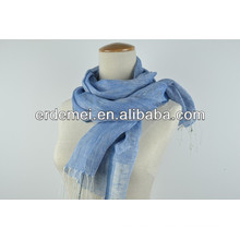 Most popular blue linen tassel scarf