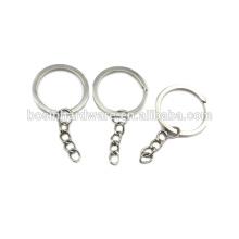 Moda de alta qualidade de metal niquelado anel dividido plano com corrente curta