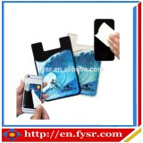 Christmas promotional Sticky Adhesive silicone Cell Phone Card Holder With Cleaner