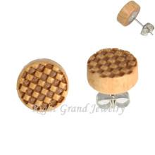 Chessboard Logo Round Wood Earring Studs 3D Logo Ear Piercing For Men
