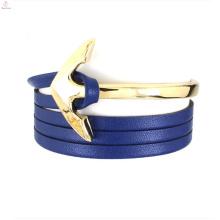 2017 cuir wrap bracelet en acier inoxydable ancre bijoux pendentif pièces