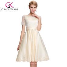 Grace Karin 2016 manga corta hasta la rodilla Satén Champagne vestido de fiesta de baile GK000062-2