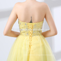 Short design yellow color fairy wedding dress new fashion off shoulder dress wedding wholesale