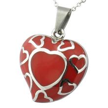 Pendentif en émail pendentif en acier inoxydable pendentif coeur