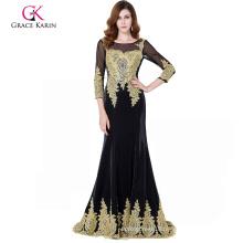 Grace Karin 3/4 Sleeve Golden Appliques Embellished Black Evening Dress Long Sleeves GK000117-1