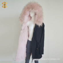 Winter Long Style Mongolian Pink Coat Fur Parka Jacket
