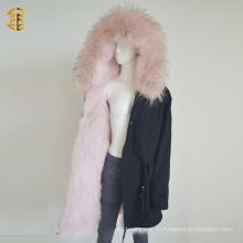 Зимний длинный стиль Монгольская розовая куртка Fur Parka Jacket