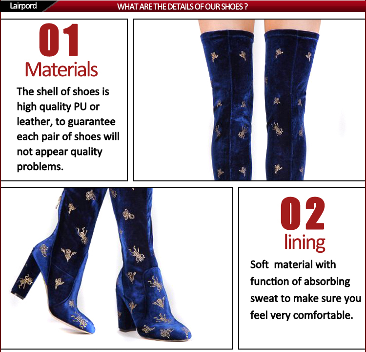 Wholesale overknee women's embroidery flower boots