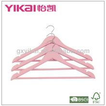 Cintre en bois rose avec emballage de détail 6pcs / set couleur rose