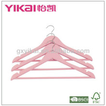 Pink Color Wooden hanger with retail packaging 6pcs/set pink color