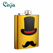 Yellow Silk-Printing Mustache Series Gift Hip Flask (XF-735)