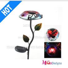 Piquet de champignon aux fleurs solaires en verre et métal