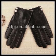 2013 Winter-Schaffell-Knöpfe schmücken Leder-Handschuhe