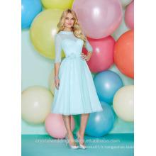 Vente en gros de bonne qualité simple en mousseline de soie à manches longues courte ligne de robes de demoiselle d'honneur LBS06