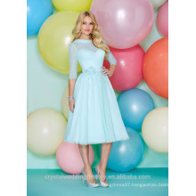 Wholesale Good Quality Simple Cheap Chiffon Long Sleeve Short A Line Bridesmaid Dresses LBS06