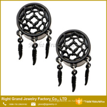 Black Plated Edelstahl Dangle Feather Ohr Tunnel Plugs