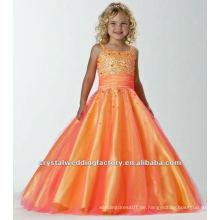 Freies Verschiffen wulstige orange mit Rüschen besetzte Festzugblumenmädchen kleidet CWFaf4883