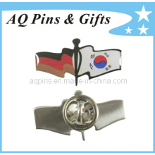 Flag Crossed Offset Impreso Lapel Pin Badge con Epoxy (badge-128)