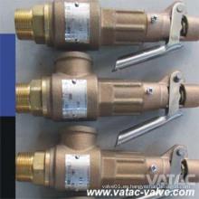 Válvula de seguridad de bronce con palanca