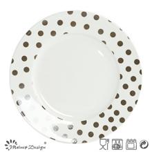 10.5 pulgadas de porcelana blanca con placa de cena de etiqueta