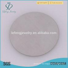 Heißer Verkauf 316l Edelstahl runde silberne Glasplatten für schwimmende Medaillon