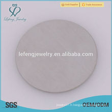 Plaques en verre rond en acier inoxydable en acier inoxydable 316l chaud pour locket flottant